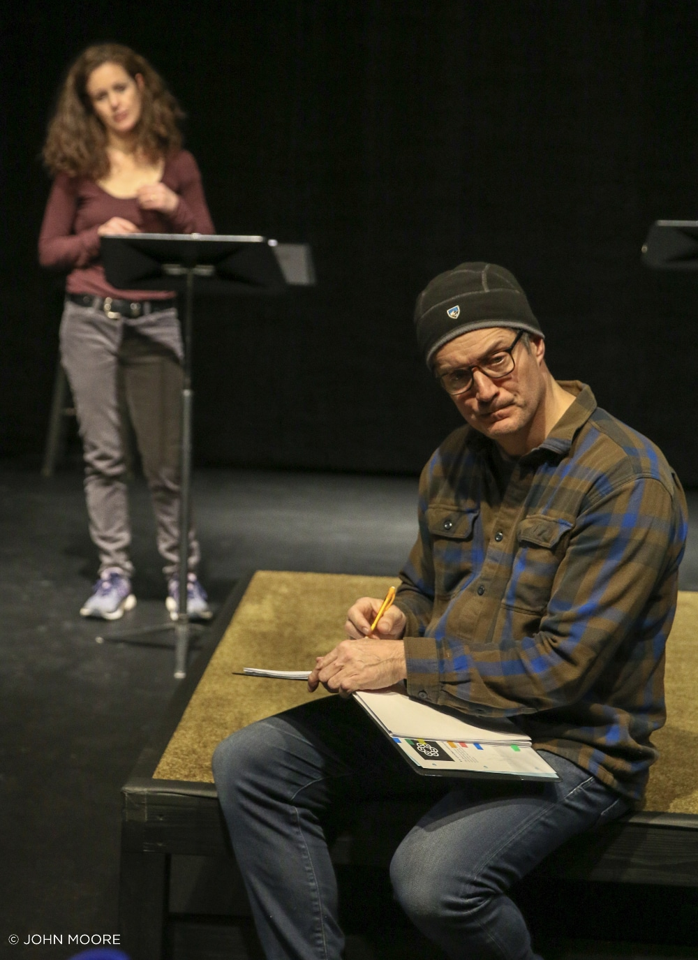 Kirsten Potter and Gareth Saxe in rehearsal for 'Hotter Than Egypt.' Photos by John Moore