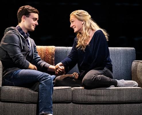 Stephen Christopher Anthony as 'Evan Hansen' and Jessica E. Sherman as 'Heidi Hansen.' Photo by Matthew Murphy. 2019