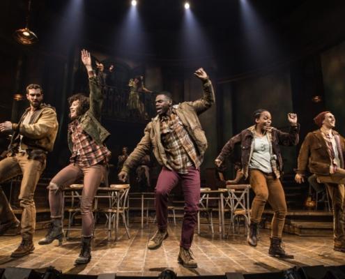 Workers Chorus in the Original Broadway Cast of Hadestown. Credit: Matthew Murphy
