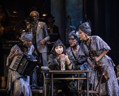 Eva Noblezada and the Original Broadway Cast of Hadestown. Credit: Matthew Murphy