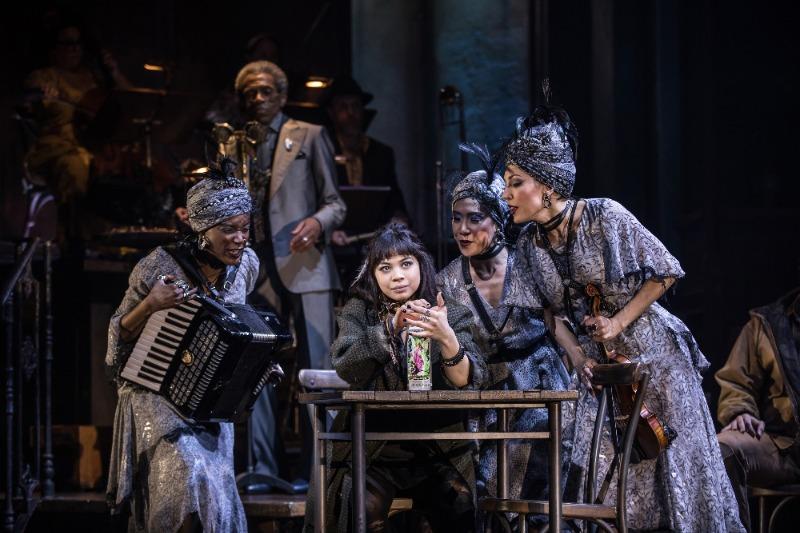 Eva Noblezada and the Original Broadway Cast of Hadestown. Credit: Matthew Murphy