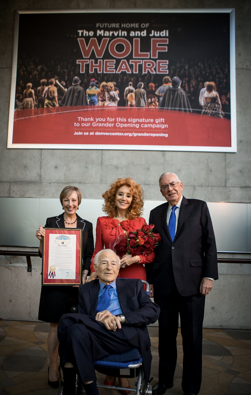 Janice Sinden, Marvin Wolf, Martin Semple and Judi Wolf at the naming announcement of the Wolf Theatre in 2018. Photo by Adams VisCom.