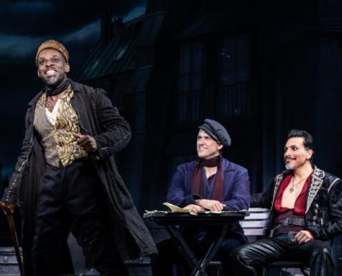 Sahr Ngaujah as Toulouse-Lautrec, Aaron Tveit as Christian and Ricky Rojas as Santiago © Matthew Murphy, 2019