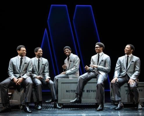 (L-R) Derrick Baskin, Jelani Remy, Jawan M Jackson, Ephraim Sykes, and James Harkness in AIN'T TOO PROUD. Photo by Matthew Murphy.