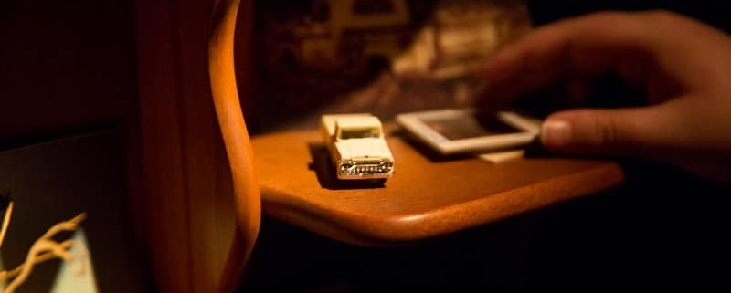 A toy truck on a desk
