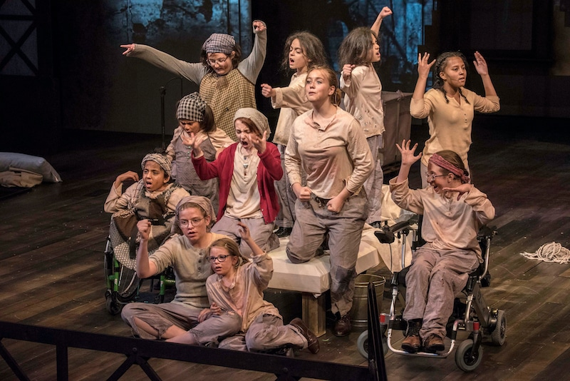 The cast in Phamaly's production of Annie. Photo by Michael Ensminger