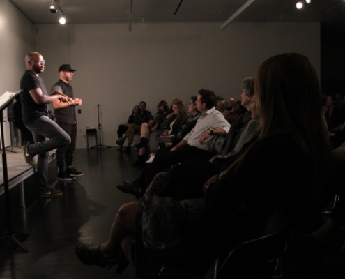Idris Goodwin and Kevin Coval at the This Is Modern Art post-show discussion. Photo by Cheyenne Michaels.