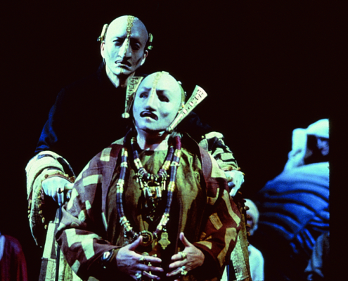 Ann Mitchell (foreground) as Hecuba and Greg Hicks as Priam in the 2000 Denver Center Theatre Company production of Tantalus. Photo by p. switzer