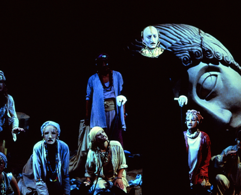 Greg Hicks as Priam with the Chorus in the 2000 Denver Center Theatre Company production of Tantalus. Photo by p. switzer