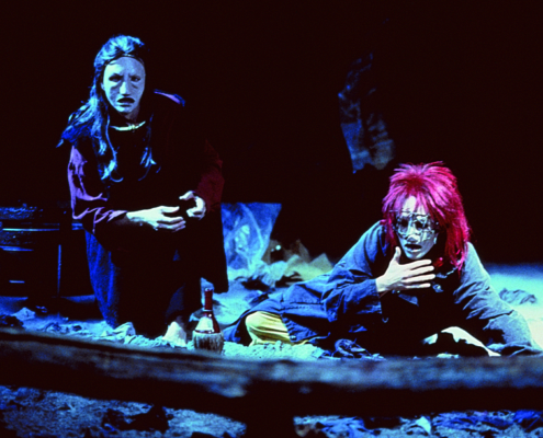Greg Hicks (left) as Agamemnon and Alyssa Bresnahan as Cassandra in the 2000 Denver Center Theatre Company production of Tantalus. Photo by p. switzer