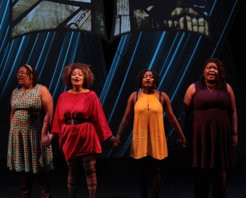 Jenee Elise, Suzi Q. Smith, Toluwanimi Obiwole, and Ralonda Simmons in How I Got Over. Photo by Nicholas Renaud.