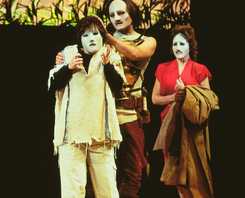 Morgan Hallet as Molossus (left), Robert Petkoff as Neoptolemus and Annalee Jefferies as Andromache - 2000 Denver Center of Tantalus. Photo by p. switzer