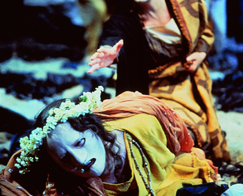 Robert Petkoff (foreground) as Neoptolemus and Annalee Jefferies as Andromache in the 2000 Denver Center Theatre Company production of Tantalus. Photo by p. switzer