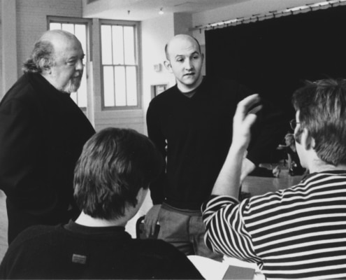Directors Sir Peter Hall & Mick Gordon (facing l-r) talk with director Edward Hall & Associate Director/Dramaturg Colin Teevan (not facing 1-r) during rehearsals of Peter Hall's production of TANTALUS. Photo by p. switzer.