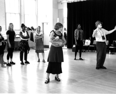 The cast of TANTALUS during rehearsals. Photo by p. switzer.