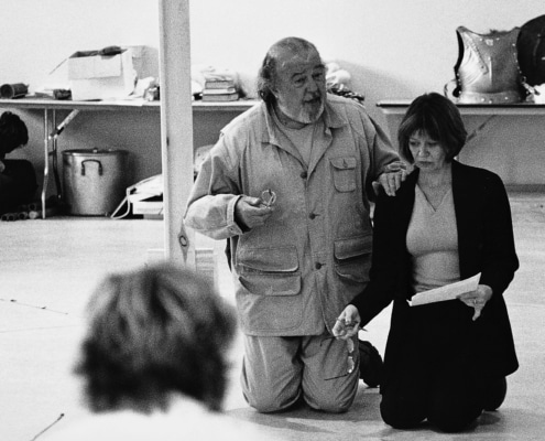 Director Sir Peter Hall works with Annalee Jefferies on his production of TANTALUS, written by John Barton. Photo by p. switzer.