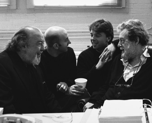 Directors Sir Peter Hall, Mick Gordon and Edward Hall talk with author John Barton during rehearsals of TANTALUS. Photo by p. switzer.