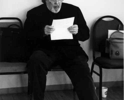 Director Sir Peter Hall during rehearsals of TANTALUS. Photo by p. switzer.