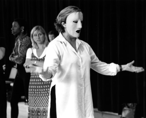 Ann Mitchell (foreground) and Ensemble during rehearsals of TANTALUS. Photo by p. switzer.