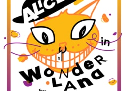 """An illustration of a yellow cat with a hat that says """"Alice"""", surrounded by the the bold text """"in Wonderland""""."""